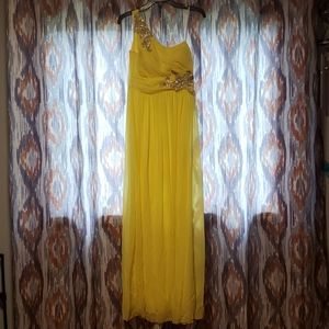 Yellow Full Length Prom/Homecoming Dress